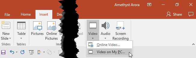 Video on My PC option