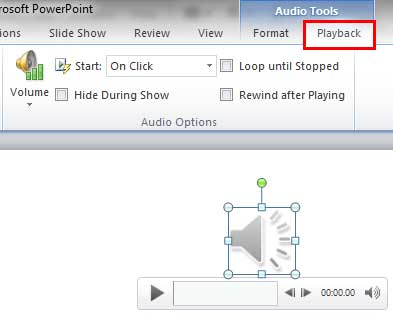 Audio Tools Playback tab selected within the Ribbon