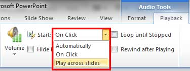 Play across slides option to be selected