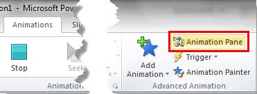 Animation Pane button within Advanced Animation group