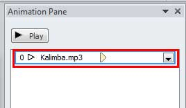 Animation listed for audio clip within Animation Pane