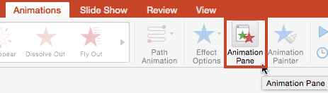Click the Animations Pane button