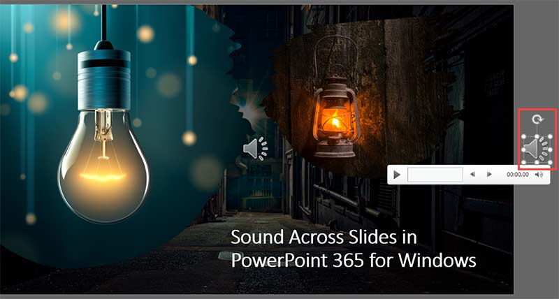 Audio icon moved off the slide