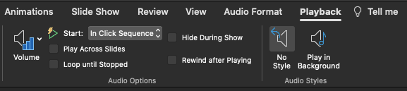 Format Audio tab of the Ribbon