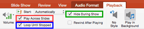 Required check-boxes selected to play the sound across slides