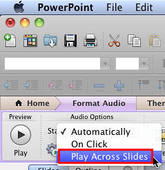Play across slides option within the Start drop-down list