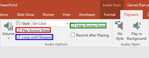 Play across slides and Loop until Stopped check-boxes selected