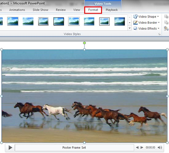 Video Tools Format tab of the Ribbon