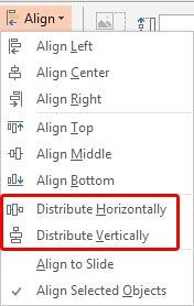 Distribute options within the Align drop-down gallery