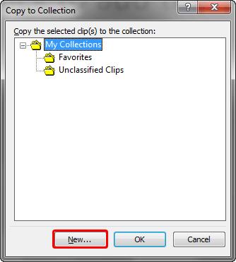 Copy to Collection dialog box