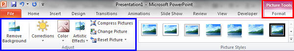 Picture Tools Format tab activated