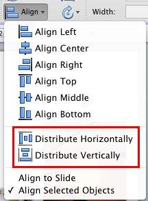 Distribute options within the Align or Distribute drop-down gallery