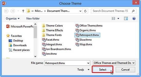 Choose Theme dialog box