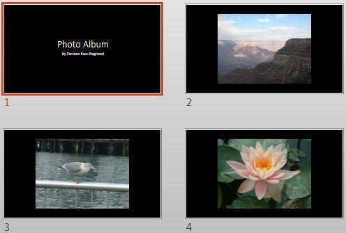Some slides within a Photo Album presentation