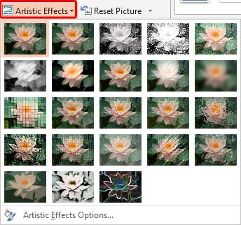 Artistic Effects drop-down gallery