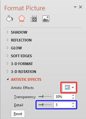 Artistic Effects options within the Format Picture Task Pane