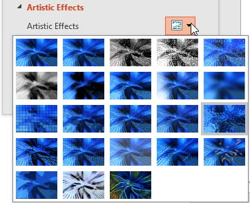 The Artistic Effects drop-down gallery within the Format Picture Task Pane