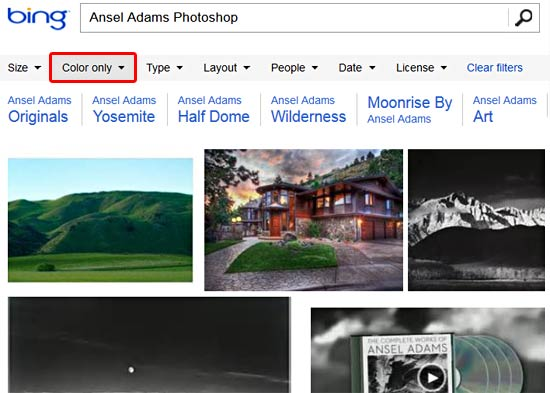 """Pictures filtered to show """"Color only"""" results"""