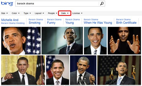 Search results on Bing when no Date filter is applied