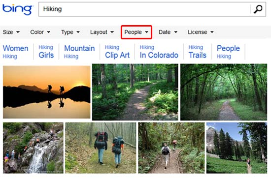 Bing Images Search with no filters selected