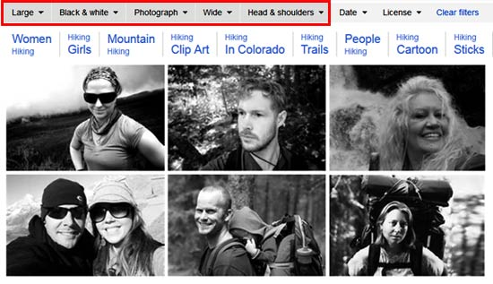 Combine various filters to reveal the power behind Bing Image Search