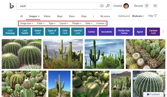 Filters are now visible for image searches in Bing