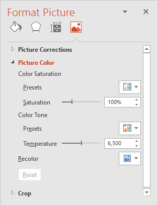 Picture Color options within the Format Picture Task Pane