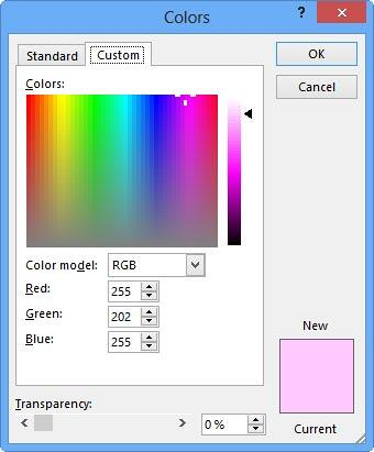 Custom tab within the Colors dialog box