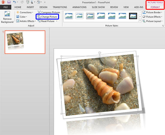 Change Picture button within the Picture Tools Format tab