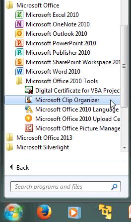 Microsoft Clip Organizer option
