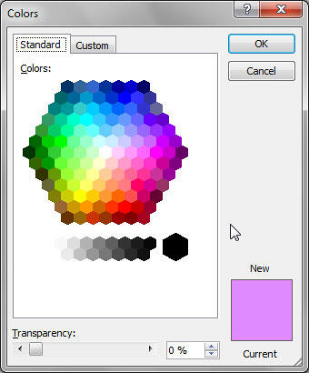 Standard tab within the Colors dialog box