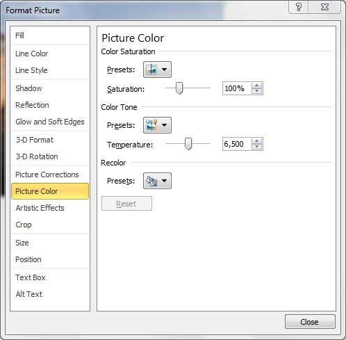 Picture Color options within the Format Picture dialog box