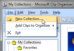 New Collection option within the File menu