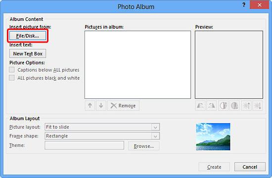 Photo Album dialog box