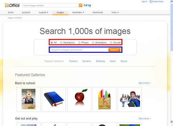 Search box and file types check-boxes within Images tab