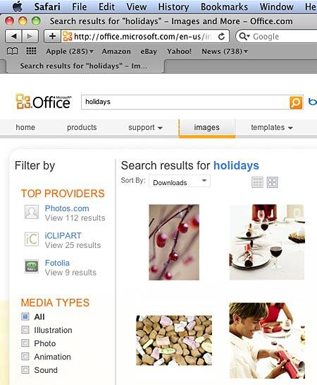 Clip media search results for the entered keywords