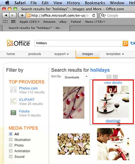 Selected thumbnail shows download link