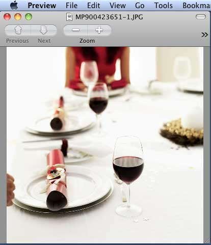 Downloaded clip media opened in Preview image viewer