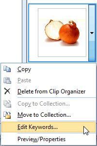 Edit Keywords option
