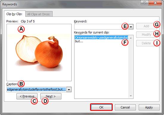 Keywords dialog box