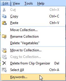 Edit | Keywords menu option
