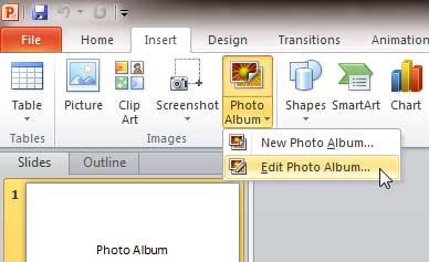 The Edit Photo Album menu option