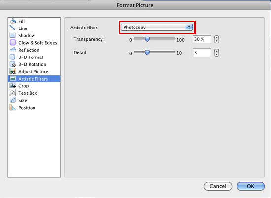 Artistic Filters option selected within the Format Picture dialog box