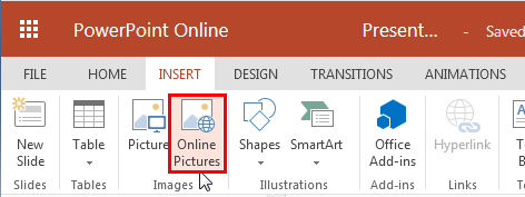 Online Pictures button within the Insert tab