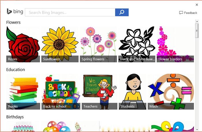 Bing image search window