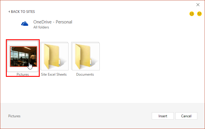 Window showing folder containing pictures within OneDrive