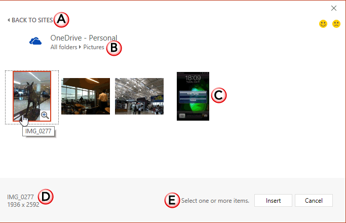 Pictures within OneDrive account
