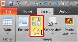 Clip Art button within the Insert tab