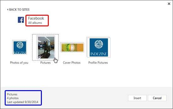 Window showing all albums within Facebook account