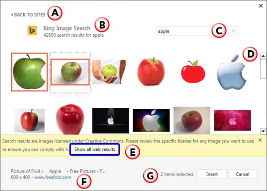 Insert Pictures dialog box with search results from Bing
